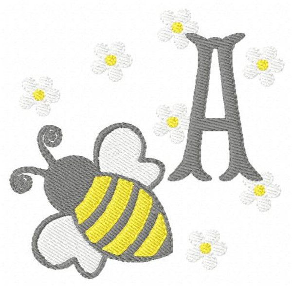 Bumble Bee Daisy Day Monogram Embroidery Font Design Set