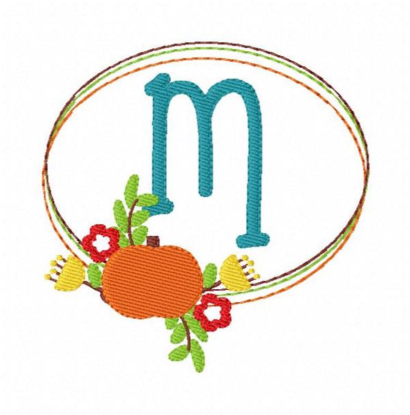 Pumpkin Fall Oval Floral Monogram Embroidery Font Design Set