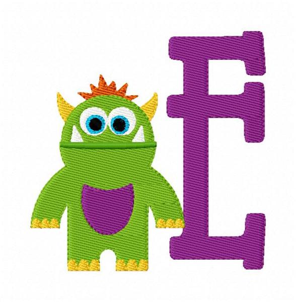 Little Green Monster Monogram Font Embroidery Design Set