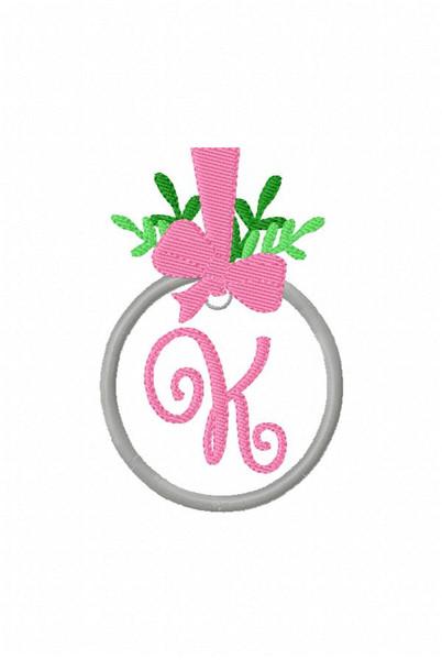 Mistletoe & Bow Christmas Bow Monogram Embroidery Design Set