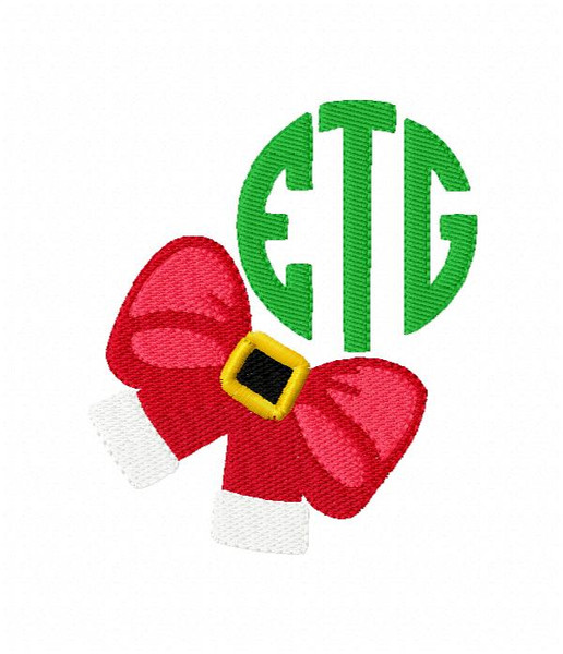 Santa Bow Circle Monogram Christmas Monogram Machine Embroidery Font Design
