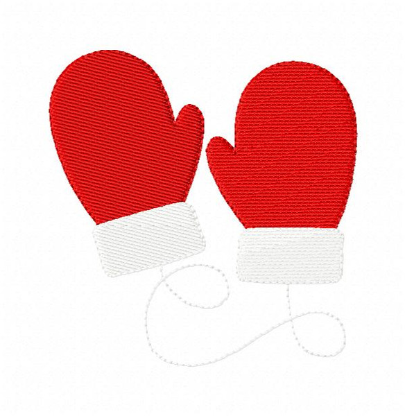 Santa Mittens Christmas Embroidery Design