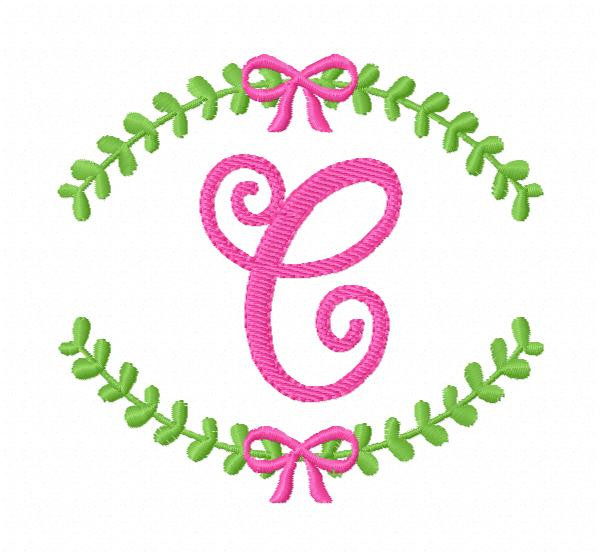 Laurel Wreath with Bow Monogram Embroidery Font Designs