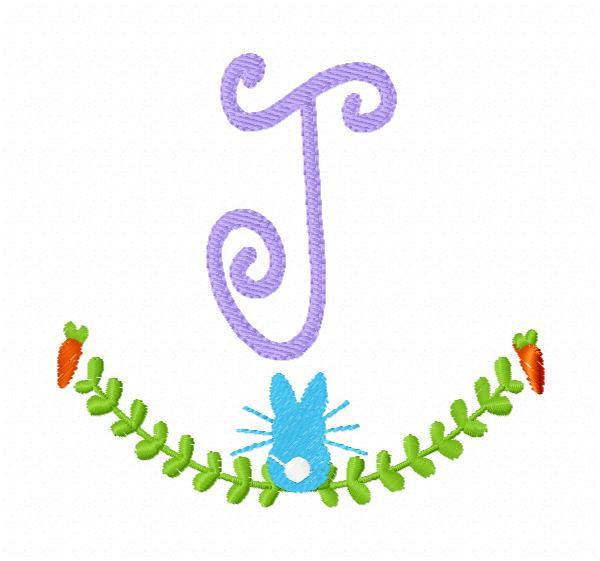 Easter & Spring Bunny Monogram Embroidery Design Font Set
