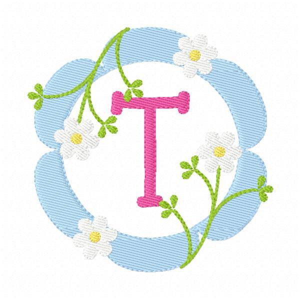 Daisy Spring Monogram Embroidery Design Set