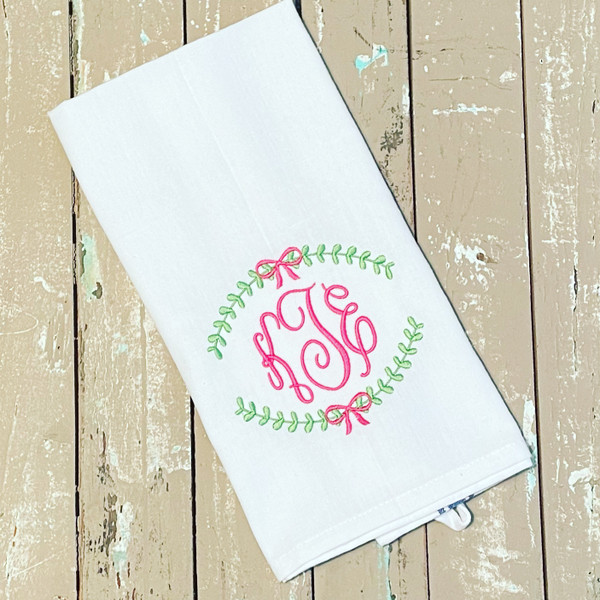 2 Kitchen Towels with Laurel Wreath Monogram