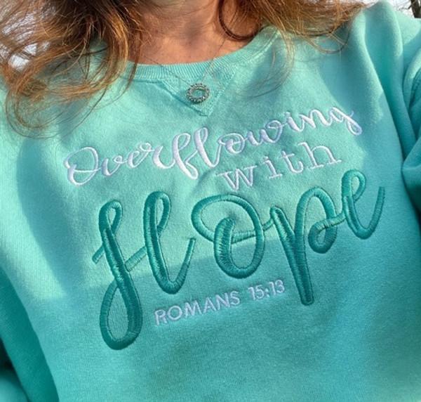 Overflowing with Hope Comfort Wash Mint Sweatshirt