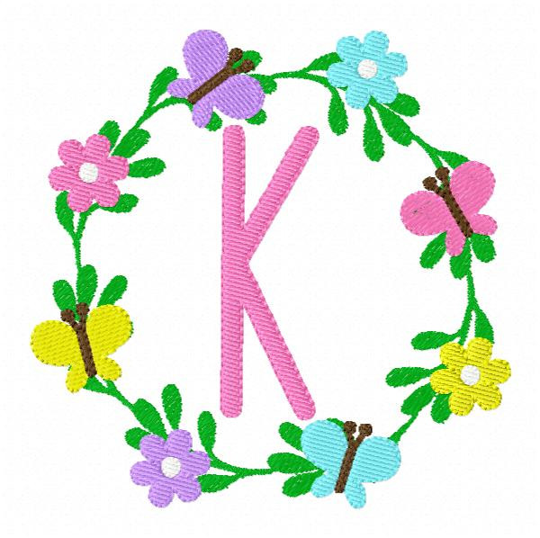 Butterflies & Daisies Monogram Embroidery Font Design Set