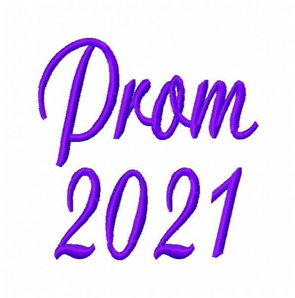 Prom 2021 Machine Embroidery Design in 2 sizes
