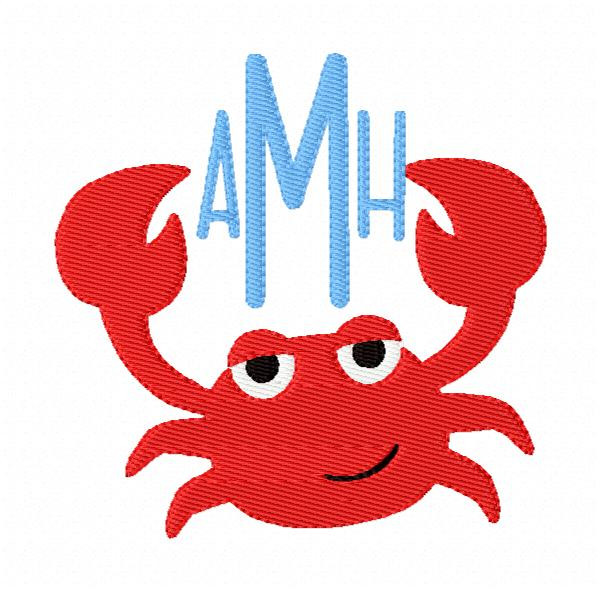 Crab Claws Summer 3 Letter Slim Monogram Embroidery Design Font Set