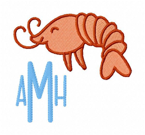 Shrimp Monogram Embroidery Design Set