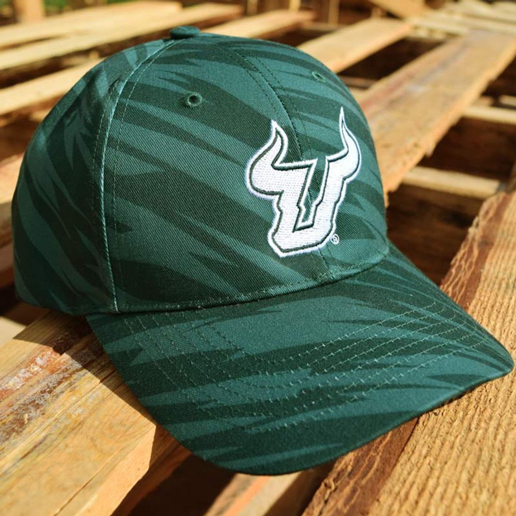 USF Logo Two-Tone Green Streak Performance Hat On Pallet