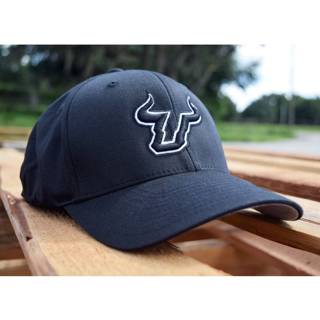 USF Logo Black Hat On Pallet Angled