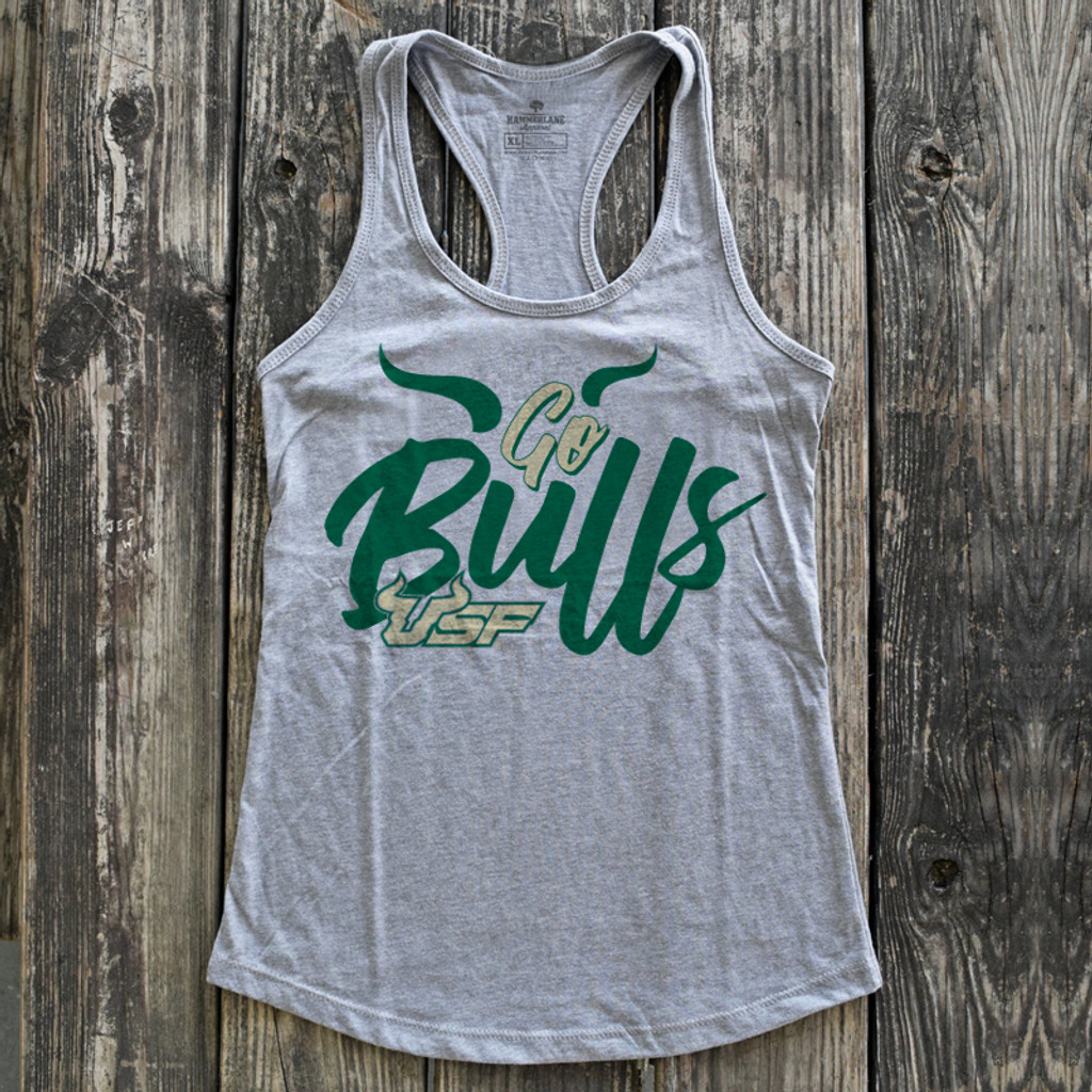 Go Bulls Ladies Heather Grey Tank Top by South Florida Strong