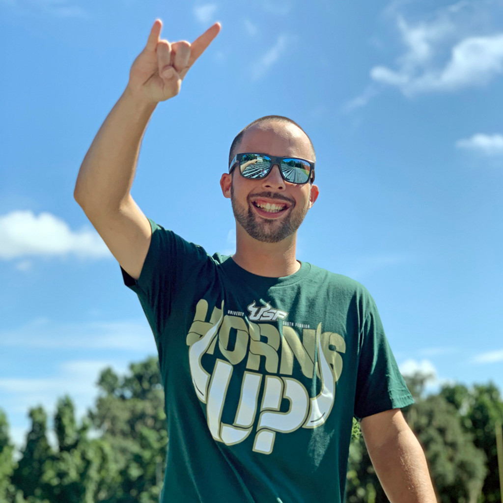 USF Horns Up Green Shirt Graphic On Front On Model 2