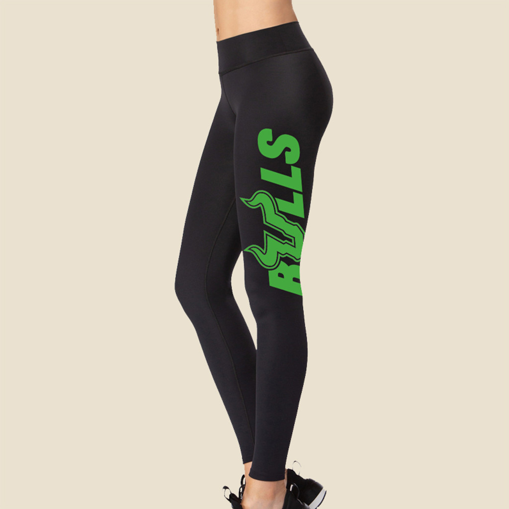 USF Ladies Bulls Black Leggings With Bright Green Graphic Side