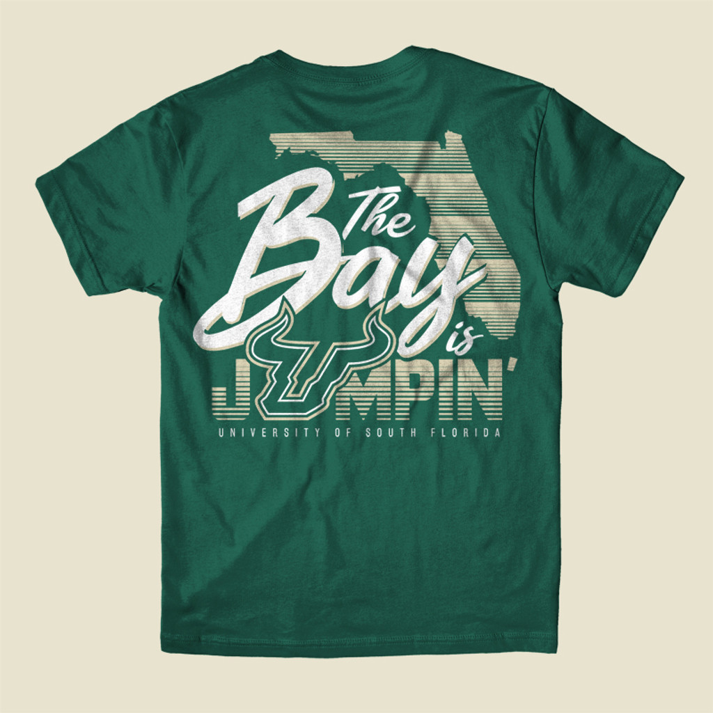 USF The Bay Is Jumpin' Green Shirt Back