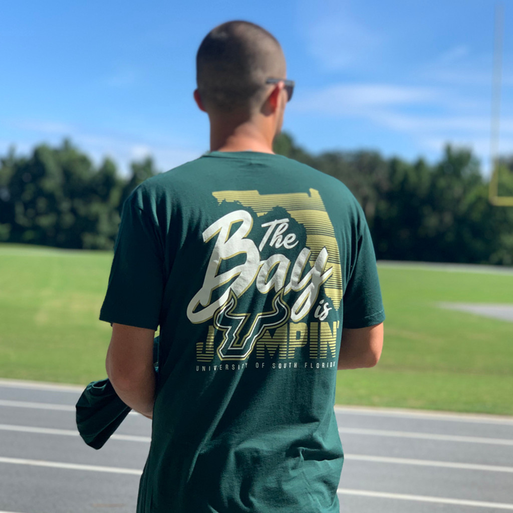 USF The Bay Is Jumpin' Green Shirt Back On Model