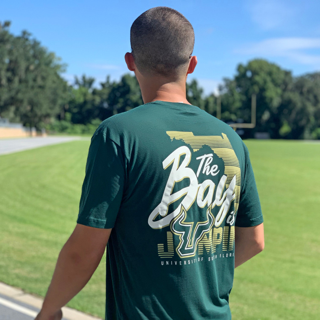 USF The Bay Is Jumpin' Green Shirt Back On Model Angle