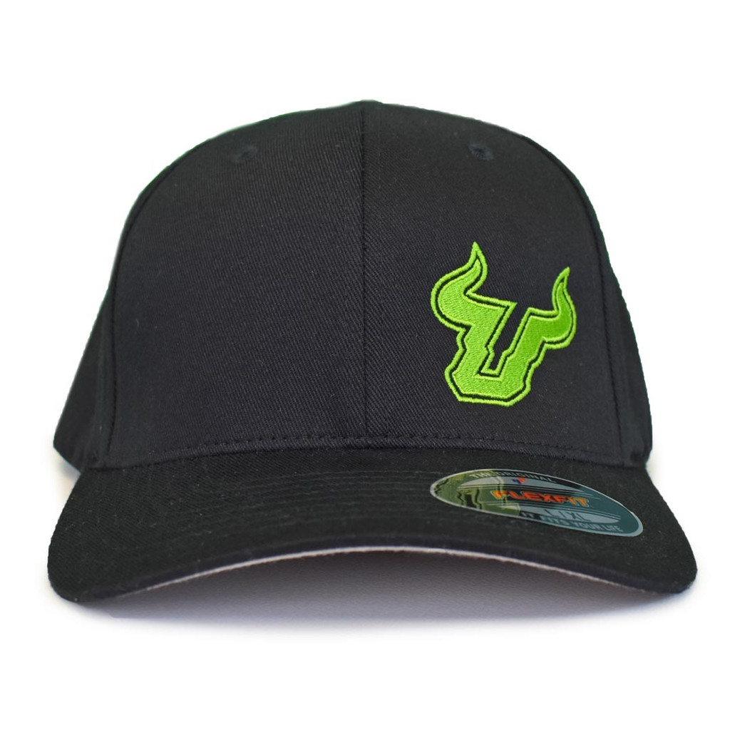 USF Logo Premium Slime Green Black Fitted Flex Hat Front View