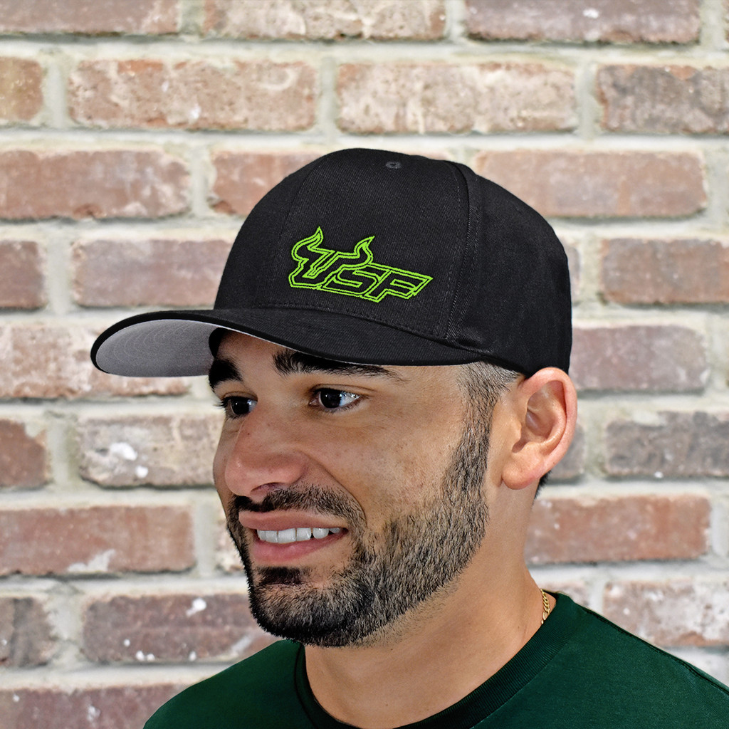 USF Premium Slime Green Black Fitted Flex Hat Back
