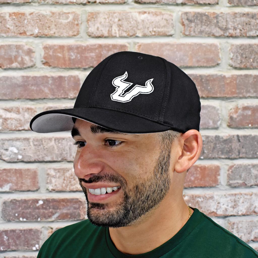 USF Logo Premium White Black Fitted Flex Hat On Model