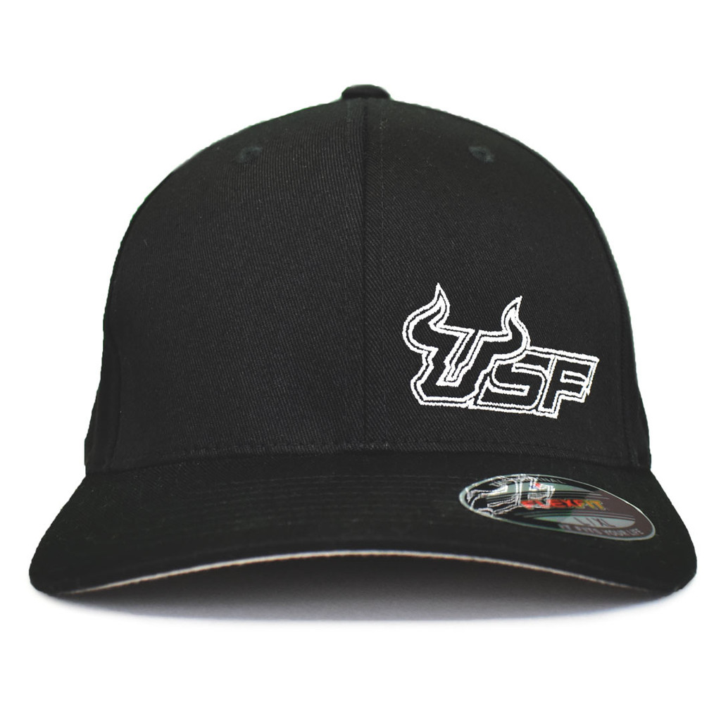 USF Premium White Black Fitted Flex Hat Front View