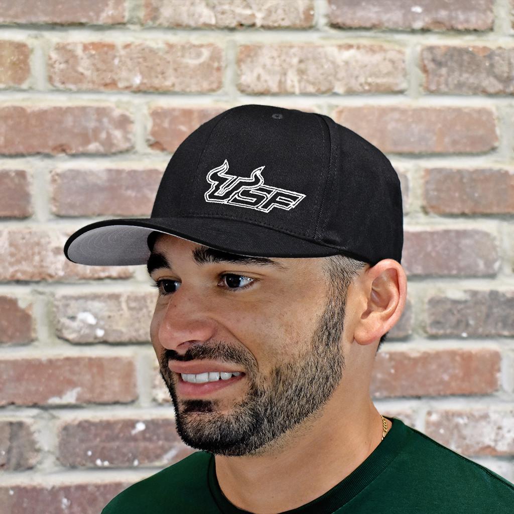 USF Premium White Black Fitted Flex Hat On Model