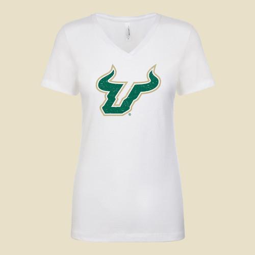 USF Logo Ladies V-Neck White Shirt
