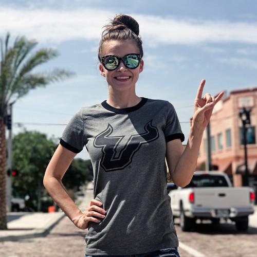 USF Soft Ladies Grey Black T-Shirt