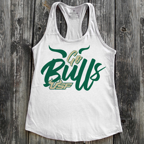 Go Bulls Ladies White Tank Top by South Florida Strong