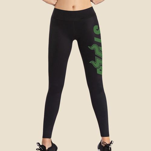 USF Ladies Bulls Black Leggings With Dark Green Graphic Front
