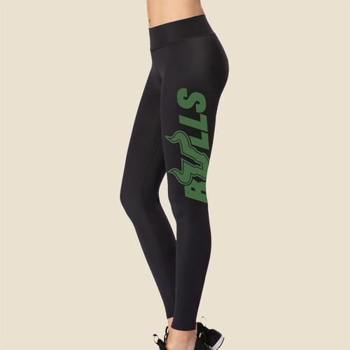 USF Ladies Bulls Black Leggings With Dark Green Graphic Side