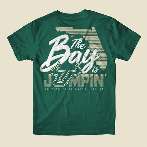 USF The Bay Is Jumpin' Green Shirt Back