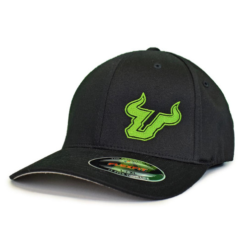 USF Logo Premium Slime Green Black Fitted Flex Hat Angle View