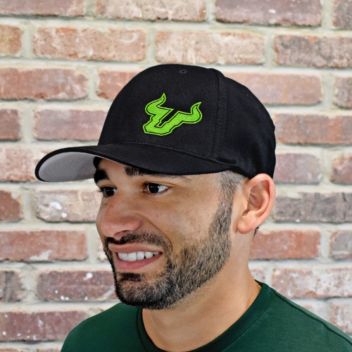 USF Logo Premium Slime Green Black Fitted Flex Hat On Model
