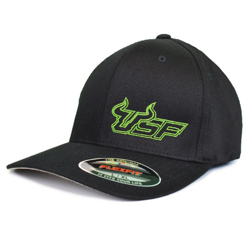 USF Premium Slime Green Black Fitted Flex Hat Angle View