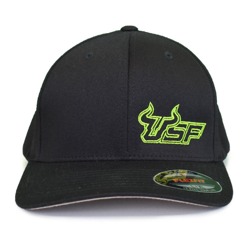 USF Premium Slime Green Black Fitted Flex Hat Front View