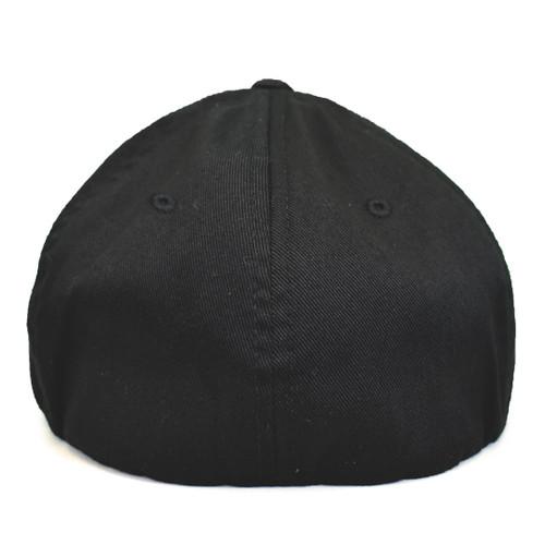 USF Logo Premium White Black Fitted Flex Hat Back