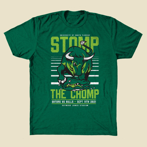 USF Stomp The Chomp Heather Green Shirt