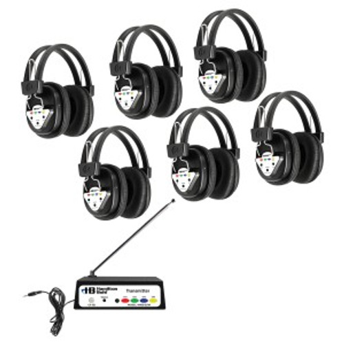 HamiltonBuhl Wireless Listening Center, 6 Station with Headphones and Bluetooth Transmitter, Multi Frequency
