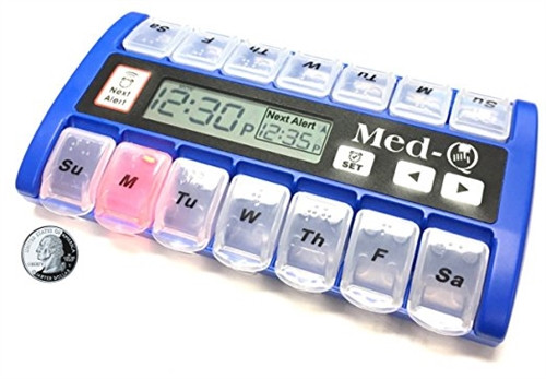 Electronic Pill Box With Flashing Medication Reminder - MedQ