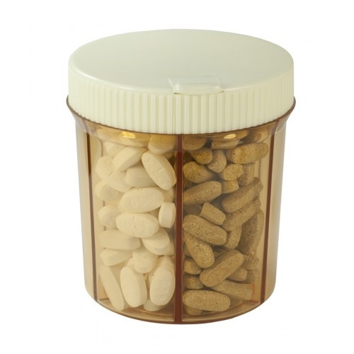 Vitanizer 6 Compartment Pill & Vitamin Organizer Dispenser with Easy Turn Lid