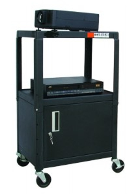 """HamiltonBuhl Steel Cart, Adjustable 26"""" to 42"""" with Locking Security Cabinet and Electric"""