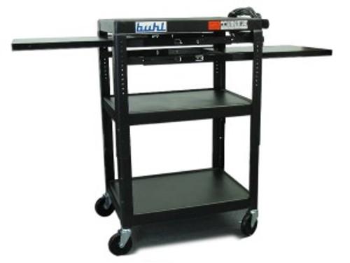 HamiltonBuhl Height adjustable AV Media Cart - Three stationary Shelves, Two Pull-Out