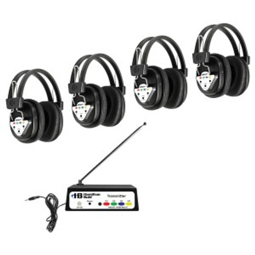 HamiltonBuhl Wireless 4 Person Listening Center with Multi-Frequency Transmitter and Wireless Headphones