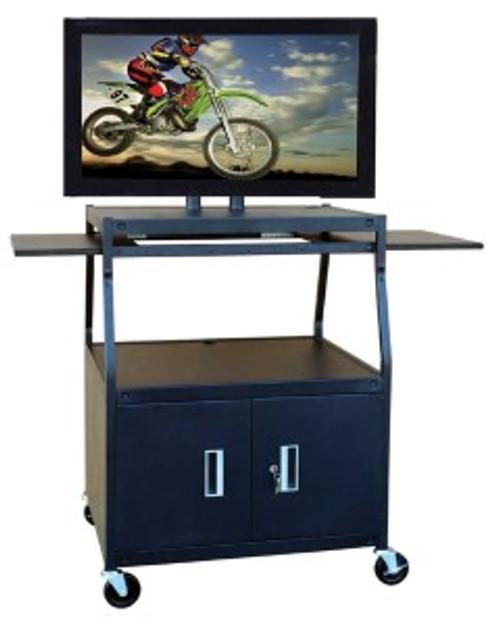 HamiltonBuhl Flat Panel AV Cart with Locking Cabinet