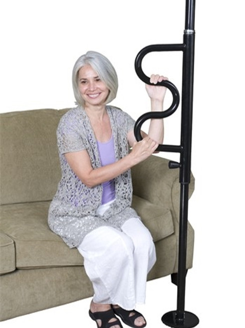 Stander Security Pole & Curve Grab Bar - Black
