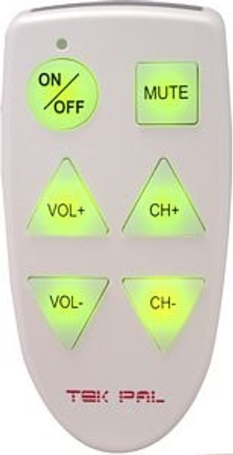 Tek-Pal TV Only Illuminated 6 Button Remote Control
