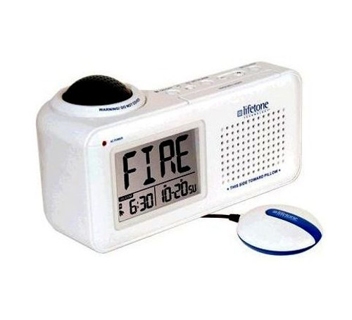Lifetone HLAC151 Bedside Fire Alarm & Clock with Bed Shaker